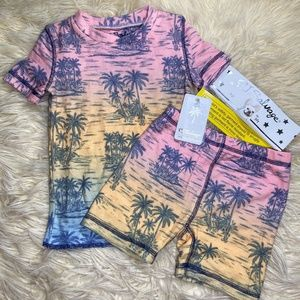 PJ Salvage Kid's Rainbow Palm Tree Pajama Set NWT